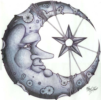 how to draw a moon and stars